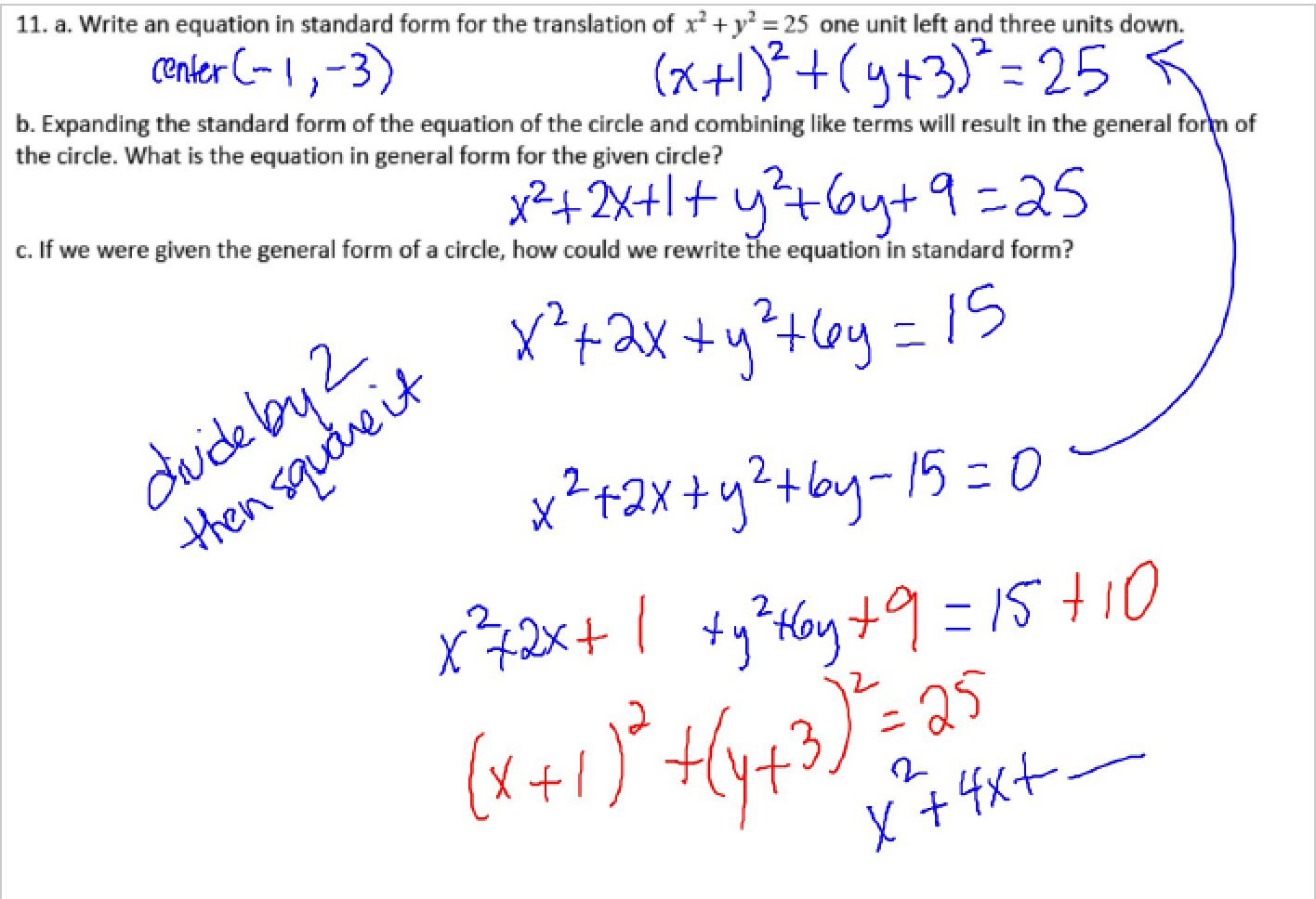 Completing The Square On Equations Of Circles