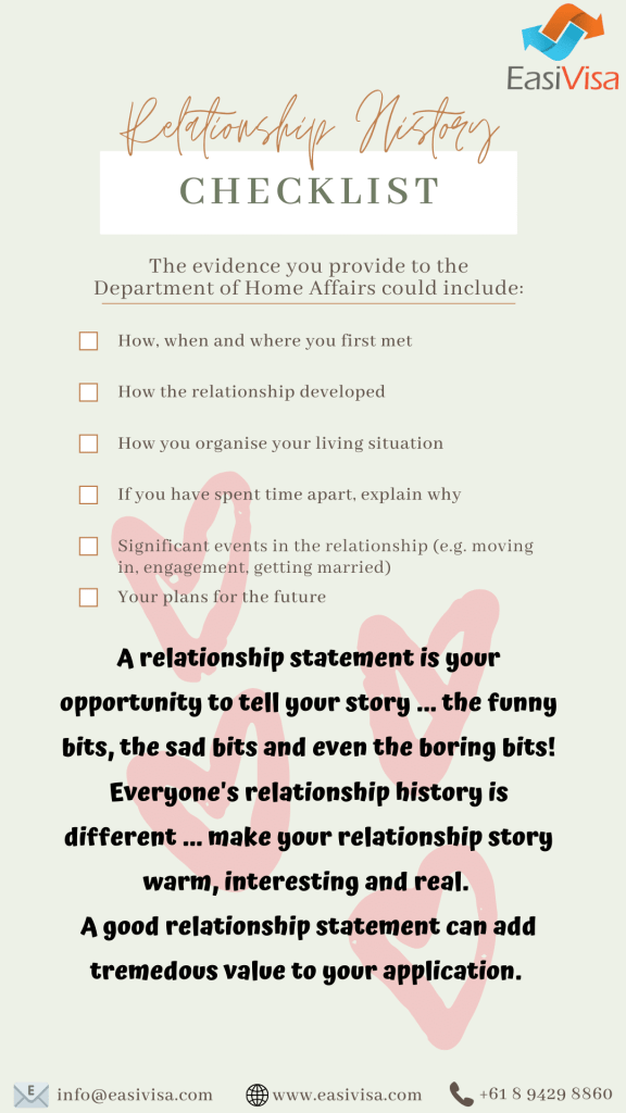 820 Partner Visa Checklist - Relationship history