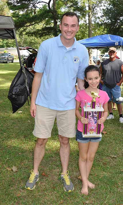 Most Fish Overall girls Mikaylah Bordelon pictured with Councilman Chris Loar.  Photo by Teri Henry