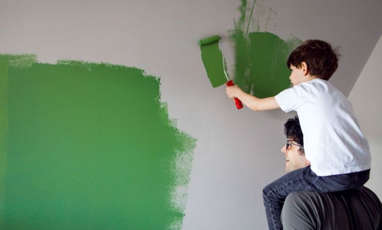 wall paint white and green