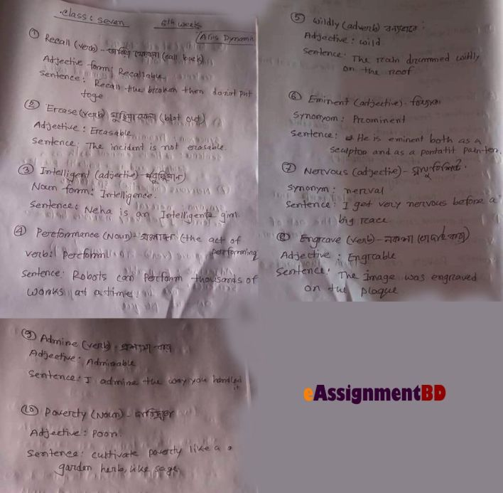 6th Week Class 7 English assignment