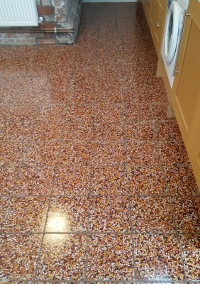 Terrazzo Kitchen Tiles After Cleaning in Bosley Cheshire