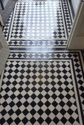 Chequered Victorian Floor Prestbury After Repair and Clean