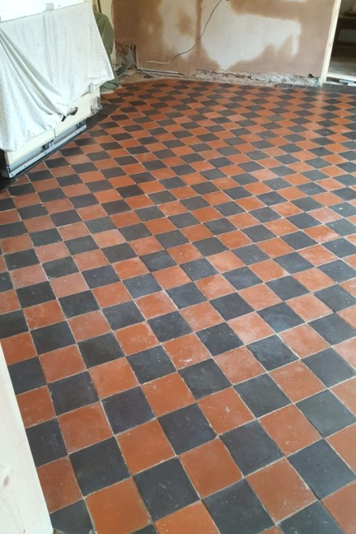 Red and Black Quarry Tiled Kitchen Floor After Cleaning and Sealing in Mobberly