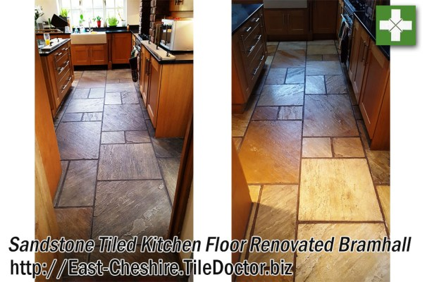 Sandstone Tiled Kitchen Floor before and after Renovation in Bramhall