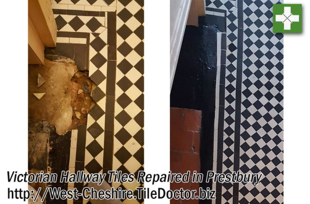 Victorian Hallway Tile Repair before and after Renovation in Prestbury