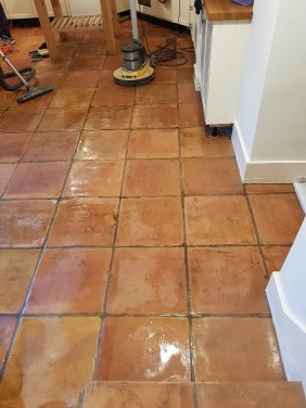 Terracotta Tiled Floor Before Cleaning Knutsford