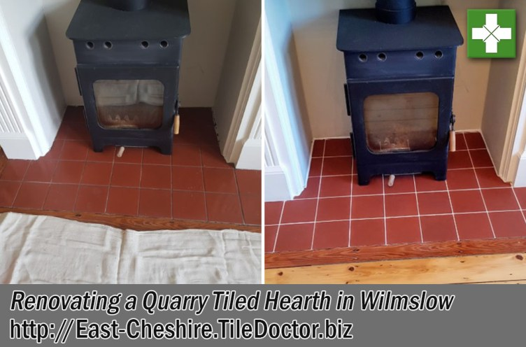 Quarry Tile Grout Hearth Before and After Renovation Wilmslow