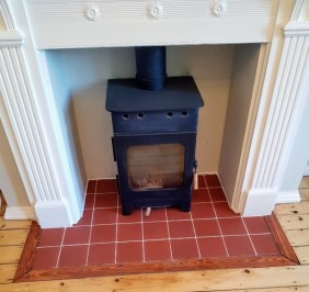 Quarry Tiled Hearth After Grout Colouring Lindow End