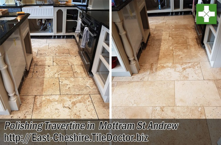 Travertine Floor Tiles Before After Polishing Mottram St Andrew