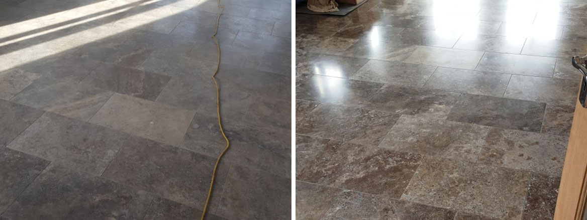 Polished Travertine Floor Before After Cleaning Eaton