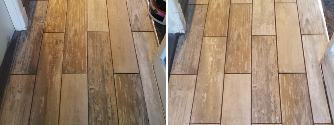 Porcelain Wood Effect Tilies Before After Grouting in Holmes Chapel