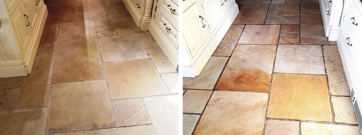 Sandstone Kitchen Floor Before and After Renovation Quarry Bank Mill