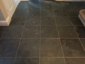 Black Slate Tile Before Cleaning