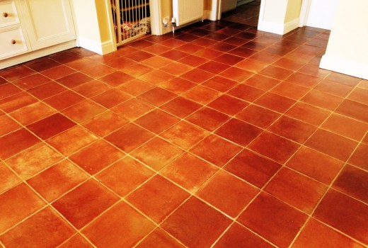Terracotta Kitchen Tiles After Cleaning and sealing in Henfield