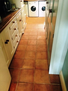 Terracotta Kitchen Tiles Before Cleaning in Henfield
