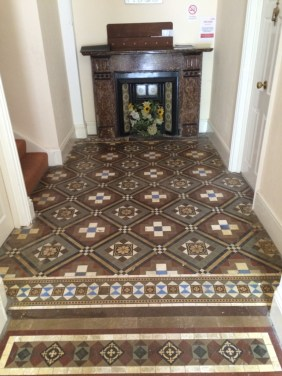 Victorian Tiles Before Cleaning Eastbourne Flats Entrance Hall