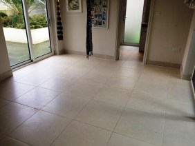 Grout Colouring Limestone Tiled Floor in Hove Park Before
