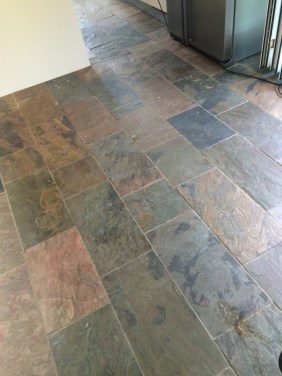 Slate floor before cleaning in Mayfield