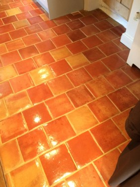 Terracotta tiles after cleaning in Wadhurst