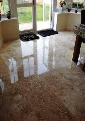 Travertine floor after honing and polishing Polegate