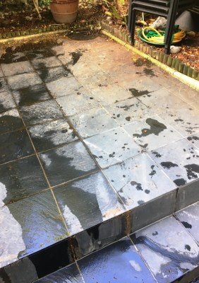 Slate Patio Courtyard Brighton Before Cleaning