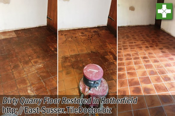 Quarry Tiled Kitchen Floor Before and After Restoration in Rotherfield
