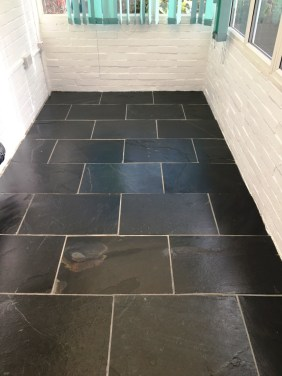 Black Slate Tiled Floor After Cleaning Bexhill