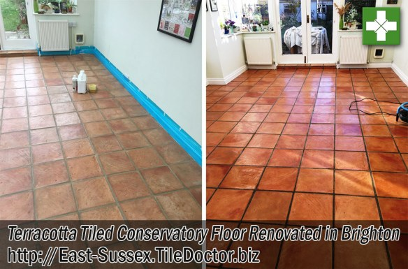 Terracotta Tiled Conservatory Before and After Renovation Brighton