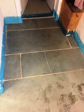 Green Slate Tiled Floor Before Cleaning Hastings