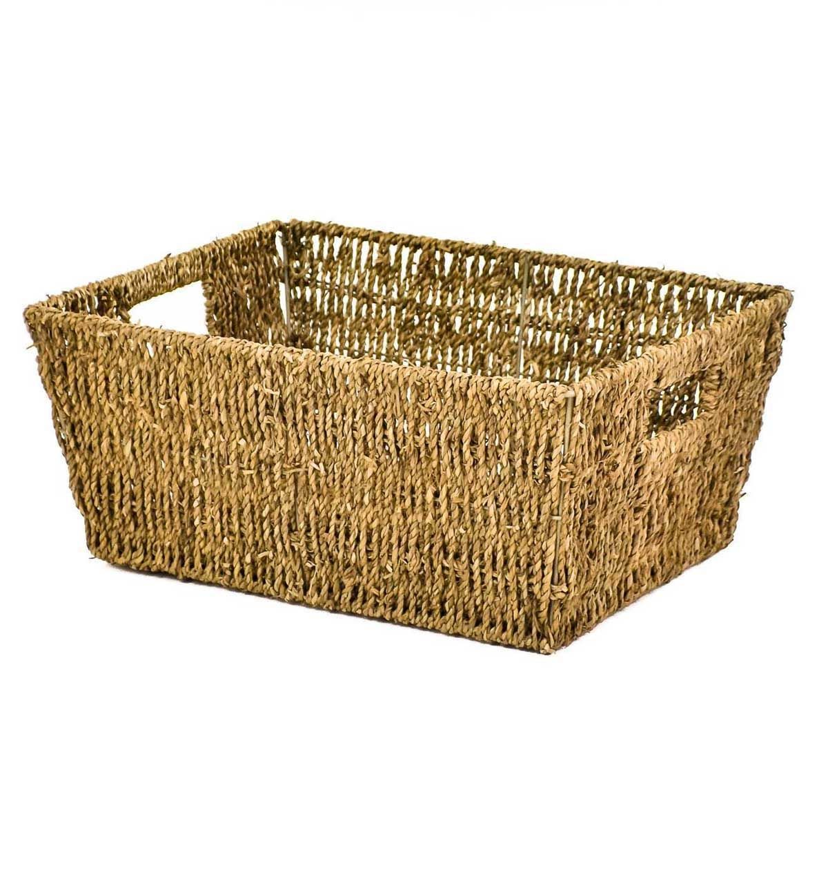 woven plastic garden chairs rental chair covers cost east2eden rectangular seagrass magazine storage basket