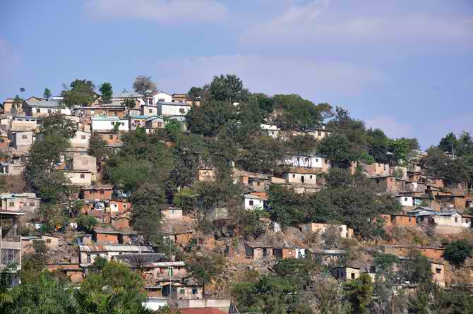 Houses on the rocks in mwanza