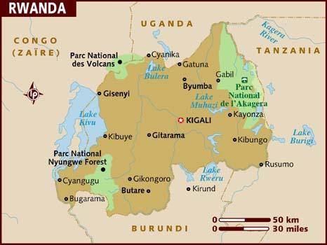 Rwanda Destinations Map