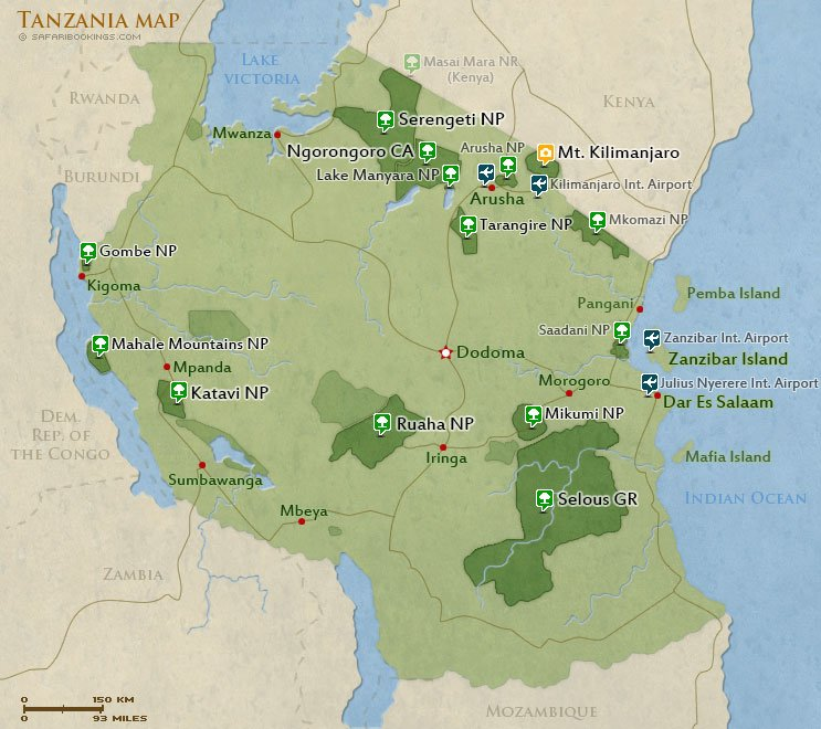 Tanzania Destinations Routs Map