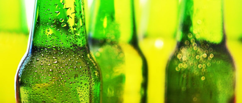 Chilled beer bottles from fridge trailer