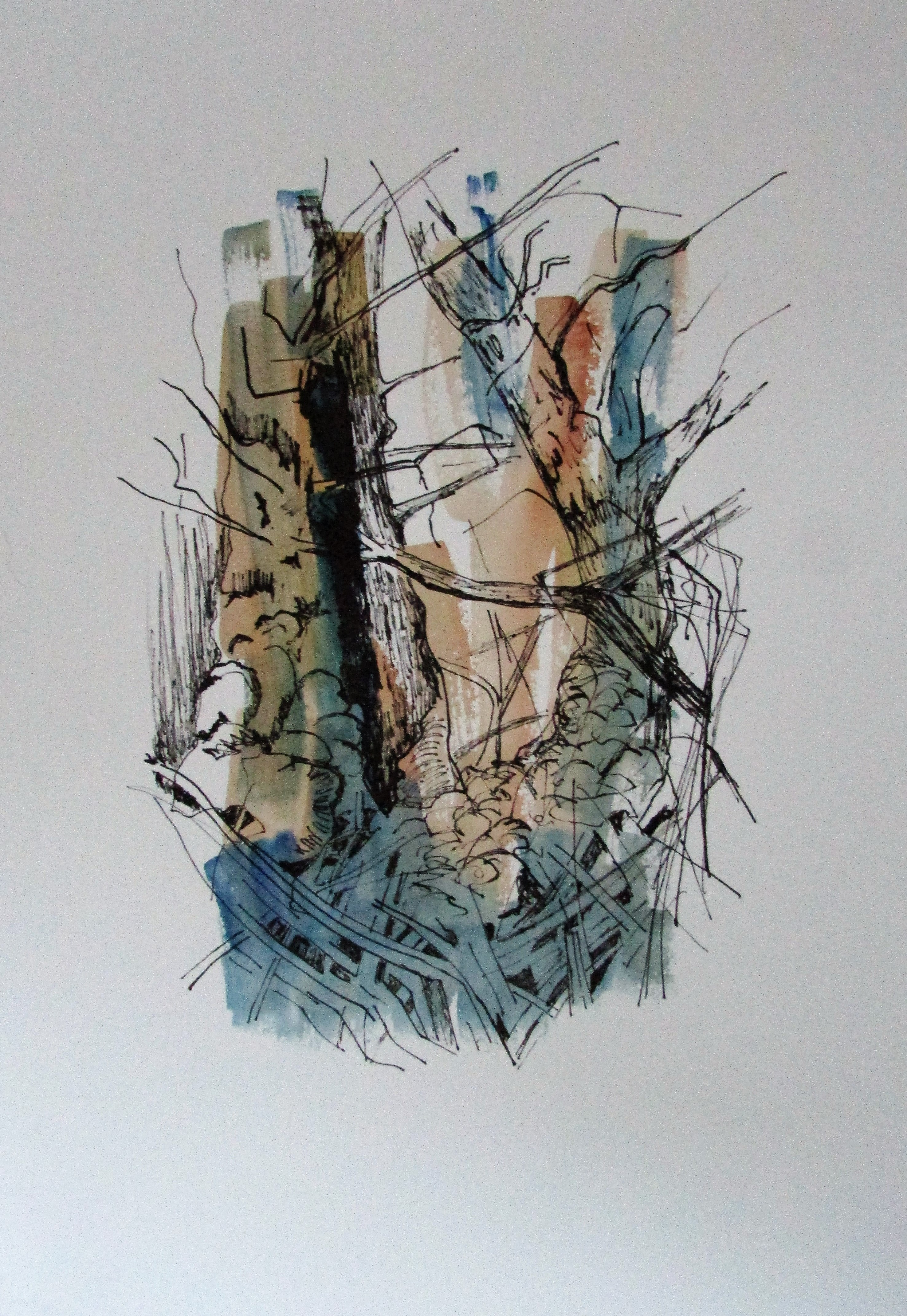 Blue Woods. Watercolour by Beverly Hughes