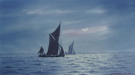 Catching the Night Tide. Watercolour by Anthony Osler