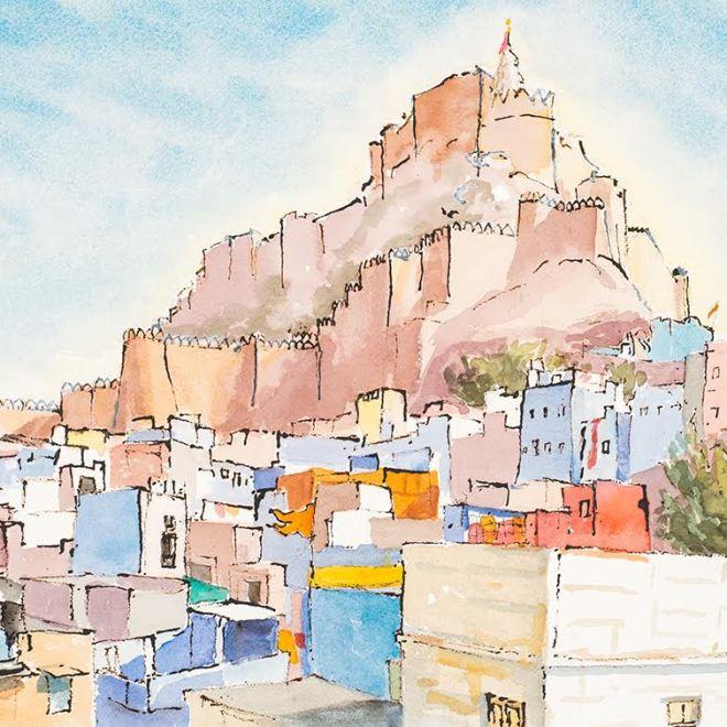 Maharajah's Palace Jodphur India. Watercolour and Ink by Virginia Albutt