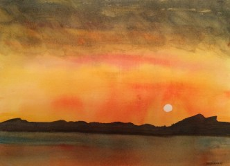 Midnight sun 1. Lofoten Islands - watercolour. Artist Hugh Jenkins