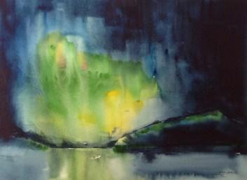 Northern Lights Fauske 2 - watercolour. Artist Hugh Jenkins