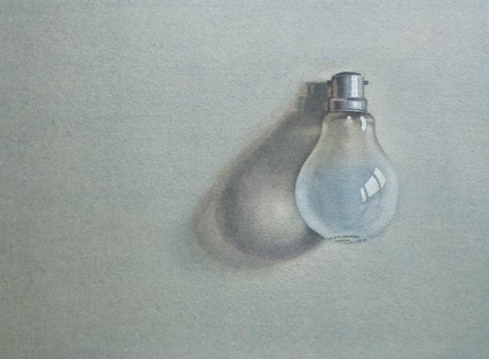 Light bulb. Watercolour by Lillias August ©