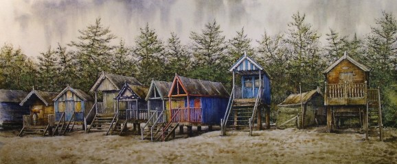 Beach Huts, Wells. Watercolour by Reg Siger