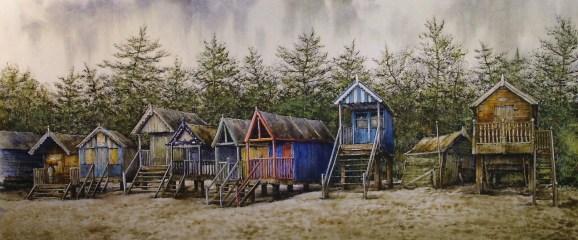 Beach Huts, Wells. Watercolour by Reg Siger