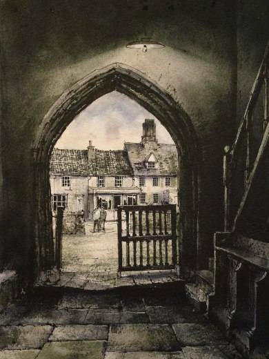 Debenham Church Porch. Watercolour by Reg Siger