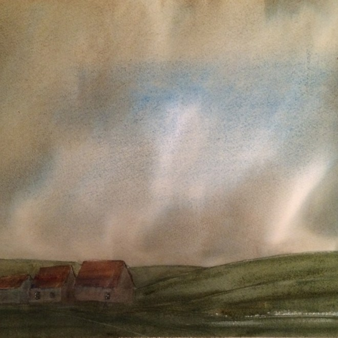 Three Cottages 1 by Hugh Jenkins