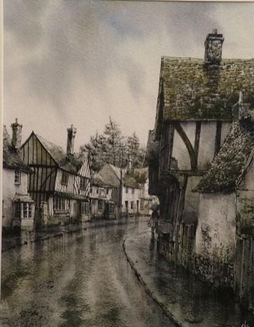 Kersey Rain. Watercolour by Reg Siger