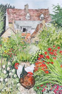 Chickens in the garden by Fran Godwood