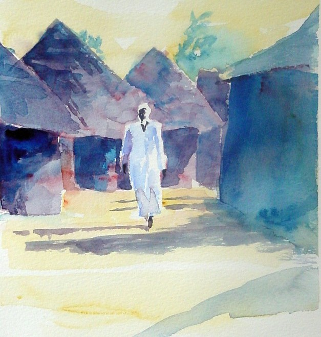 Guinean Scene with Man in White Large