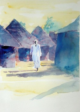 Guinean Scene with Man in White. Watercolour by Charles Nightingale