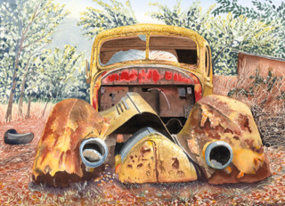 One Careful Owner. Watercolour by Denise Schoenberg